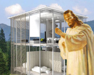 Jesus knocks at the door of a glass house
