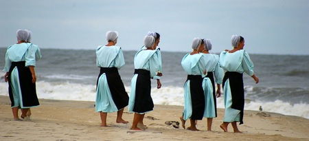 Amish Christians going to the beach